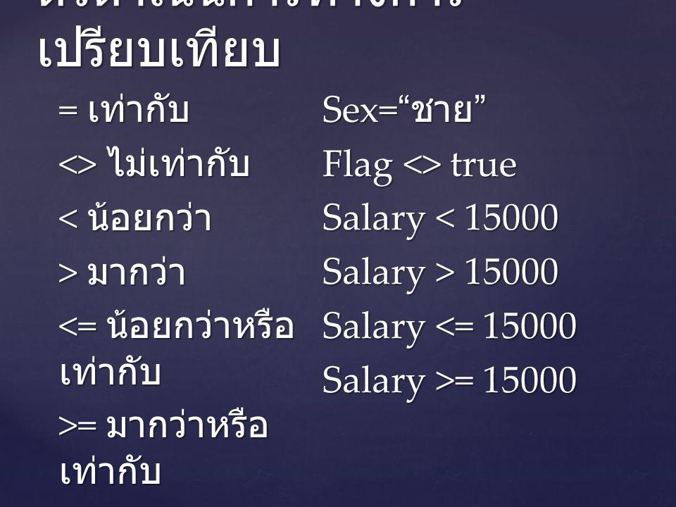 ตัวดำเนินการทางการ เปรียบเทียบ = เท่ากับ <> ไม่เท่ากับ < น้อยกว่า > มากว่า <= น้อยกว่าหรือ เท่ากับ >= มากว่าหรือ เท่ากับ Sex= ชาย Flag <> true Salary < 15000 Salary > 15000 Salary <= 15000 Salary >= 15000