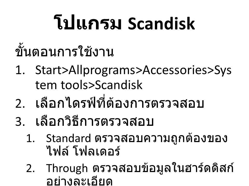 โปแกรม Scandisk ขั้นตอนการใช้งาน 1.Start>Allprograms>Accessories>Sys tem tools>Scandisk 2. เลือกไดรฟ์ที่ต้องการตรวจสอบ 3. เลือกวิธีการตรวจสอบ 1.Standa