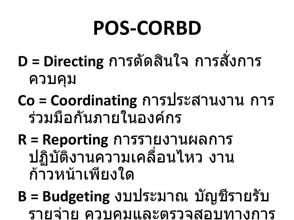 POS-CORBD D = Directing การตัดสินใจ การสั่งการ ควบคุม Co = Coordinating การประสานงาน การ ร่วมมือกันภายในองค์กร R = Reporting การรายงานผลการ ปฏิบัติงาน