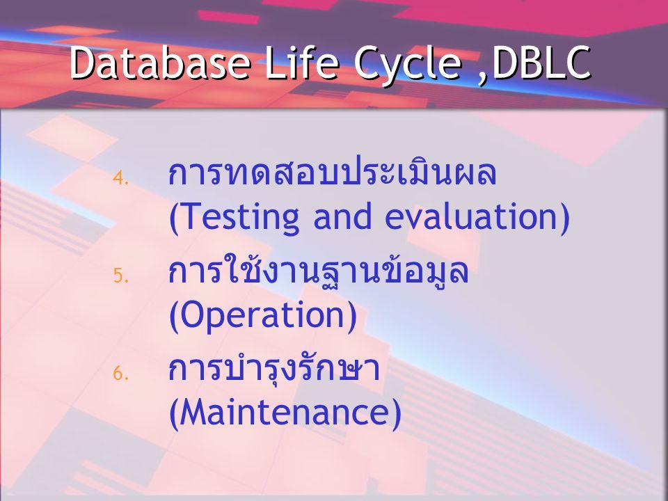 Database Life Cycle,DBLC 4.การทดสอบประเมินผล (Testing and evaluation) 5.