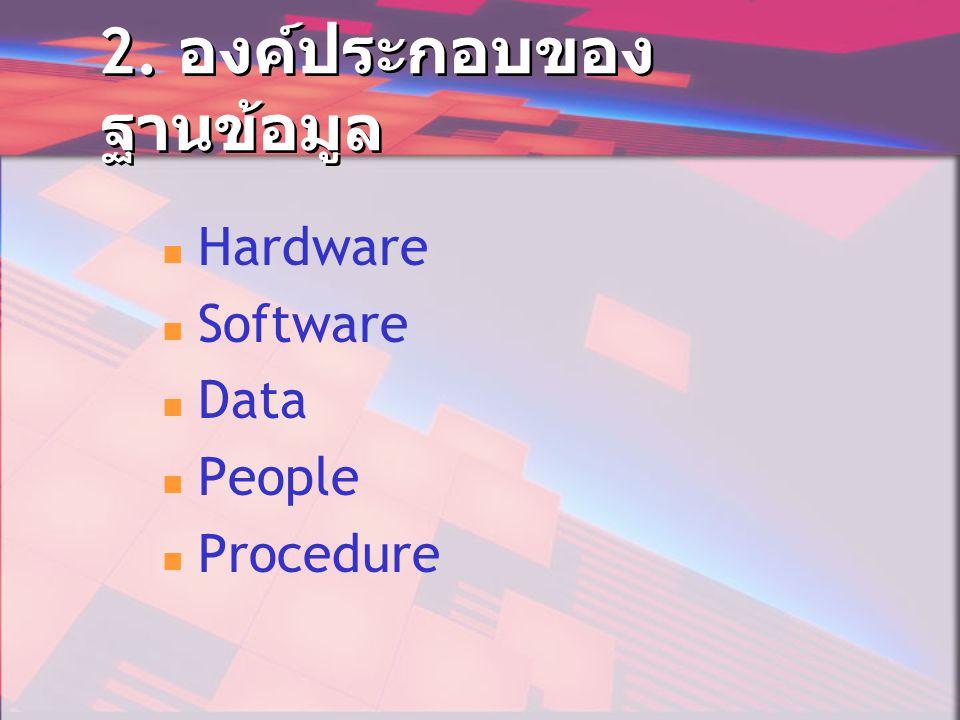 2. องค์ประกอบของ ฐานข้อมูล  Hardware  Software  Data  People  Procedure