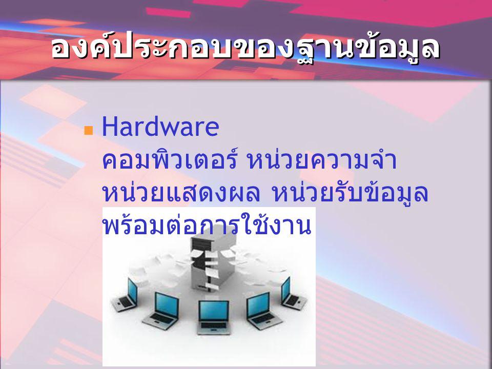 องค์ประกอบของฐานข้อมูล  Hardware คอมพิวเตอร์ หน่วยความจำ หน่วยแสดงผล หน่วยรับข้อมูล พร้อมต่อการใช้งาน