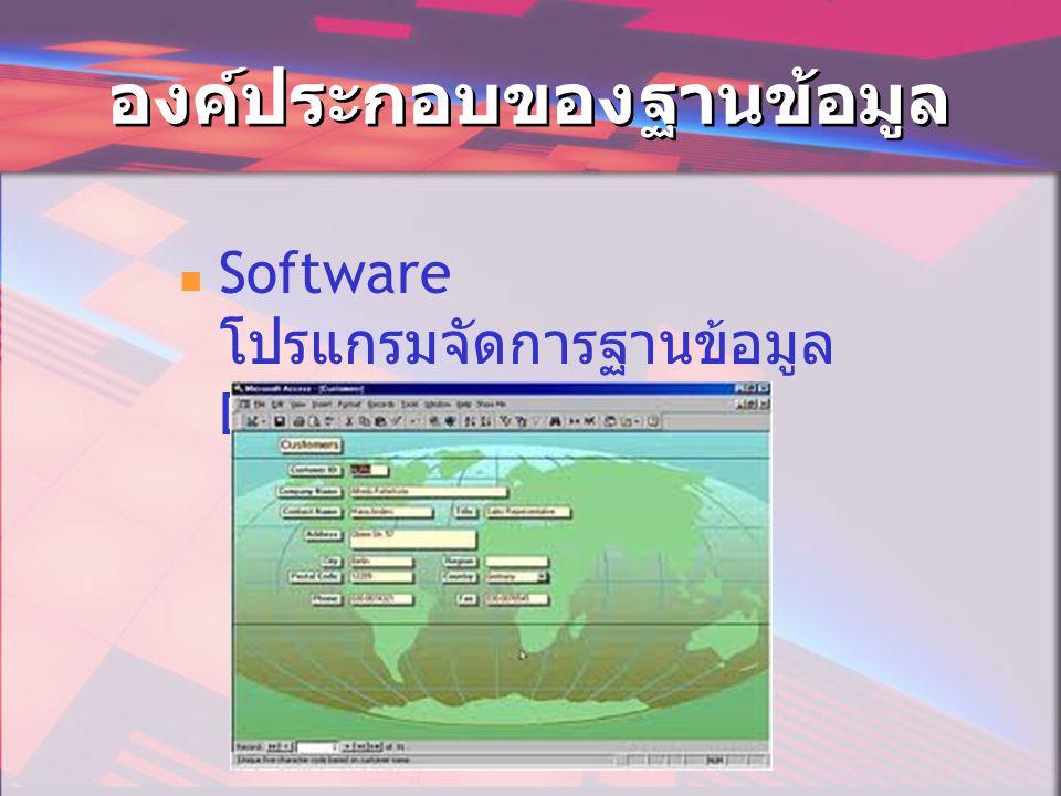 องค์ประกอบของฐานข้อมูล  Software โปรแกรมจัดการฐานข้อมูล DBMS