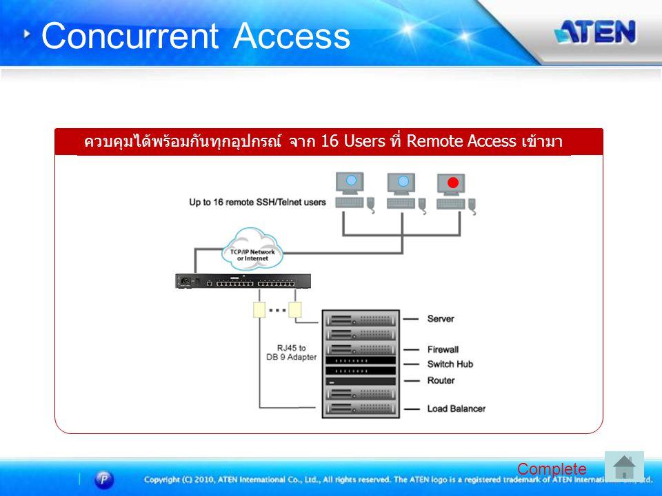 Concurrent Access ควบคุมได้พร้อมกันทุกอุปกรณ์ จาก 16 Users ที่ Remote Access เข้ามา Complete