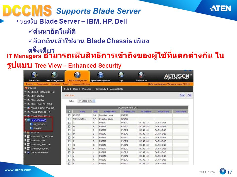 2014/6/26 www.aten.com 17 Supports Blade Server • รองรับ Blade Server – IBM, HP, Dell  ค้นหาอัตโนมัติ  ล็อกอินเข้าใช้งาน Blade Chassis เพียง ครั้งเดียว IT Managers สามารถเห็นสิทธิการเข้าถึงของผู้ใช้ที่แตกต่างกัน ใน รูปแบบ Tree View – Enhanced Security