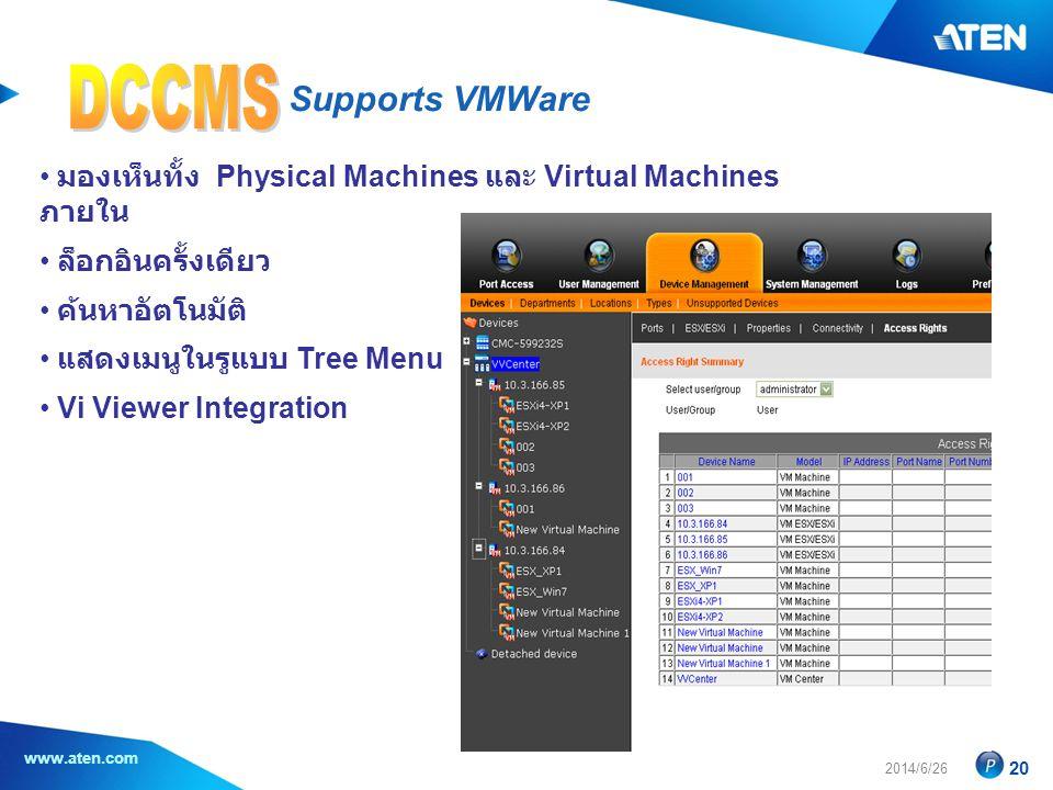 2014/6/26 www.aten.com 20 Supports VMWare • มองเห็นทั้ง Physical Machines และ Virtual Machines ภายใน • ล็อกอินครั้งเดียว • ค้นหาอัตโนมัติ • แสดงเมนูในรูแบบ Tree Menu • Vi Viewer Integration