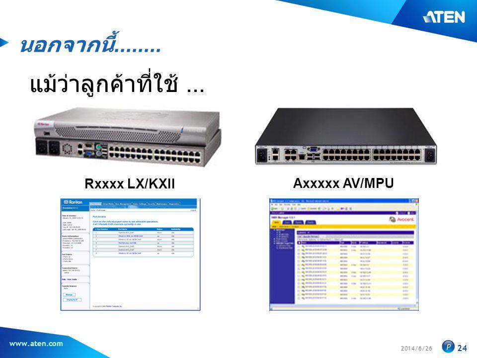 2014/6/26 www.aten.com 24 Rxxxx LX/KXII Axxxxx AV/MPU นอกจากนี้........ แม้ว่าลูกค้าที่ใช้...