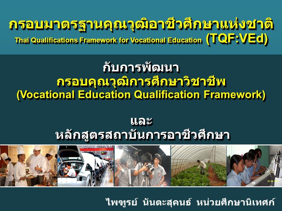 Company LOGO ไพฑูรย์ นันตะสุคนธ์ หน่วยศึกษานิเทศก์ กรอบมาตรฐานคุณวุฒิอาชีวศึกษาแห่งชาติ Thai Qualifications Framework for Vocational Education (TQF:VE