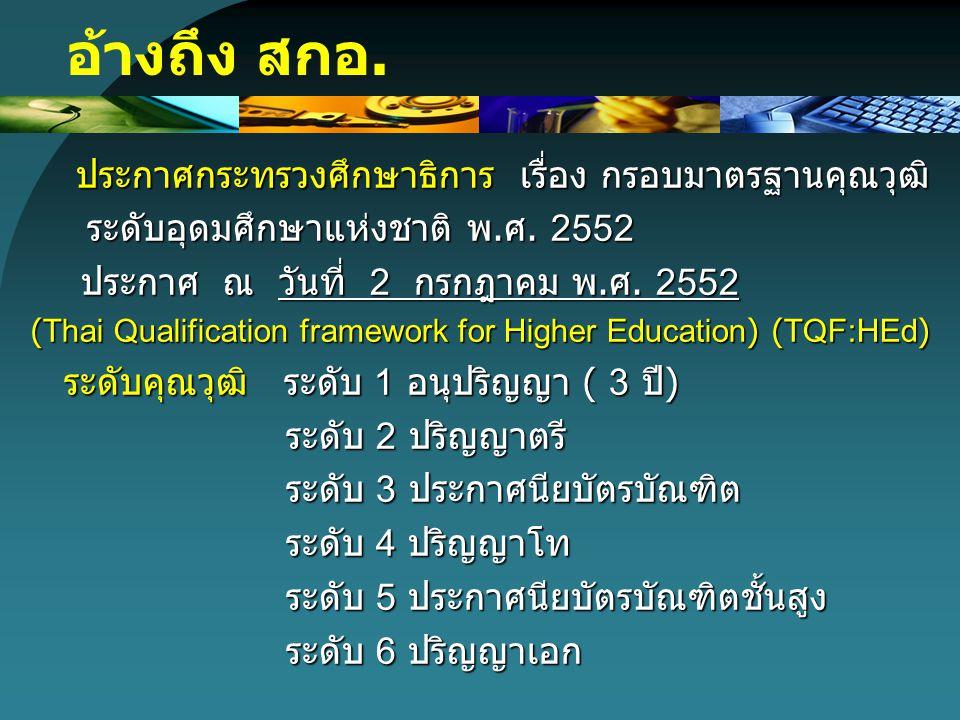 ประกาศกระทรวงศึกษาธิการ เรื่อง กรอบมาตรฐานคุณวุฒิ ประกาศกระทรวงศึกษาธิการ เรื่อง กรอบมาตรฐานคุณวุฒิ ระดับอุดมศึกษาแห่งชาติ พ. ศ. 2552 ระดับอุดมศึกษาแห