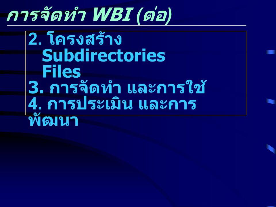 การจัดทำ WBI ( ต่อ ) 2. โครงสร้าง Subdirectories Files 3. การจัดทำ และการใช้ 4. การประเมิน และการ พัฒนา