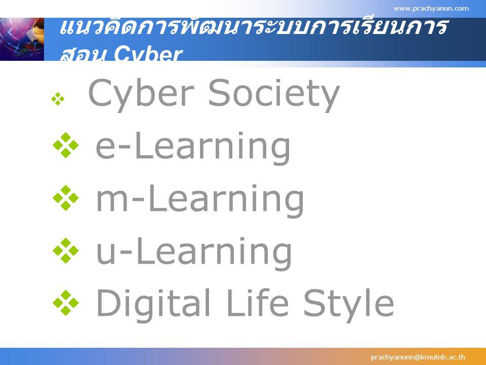 แนวคิดการพัฒนาระบบการเรียนการ สอน Cyber  Cyber Society  e-Learning  m-Learning  u-Learning  Digital Life Style  prachyanunn@kmutnb.ac.th www.pra