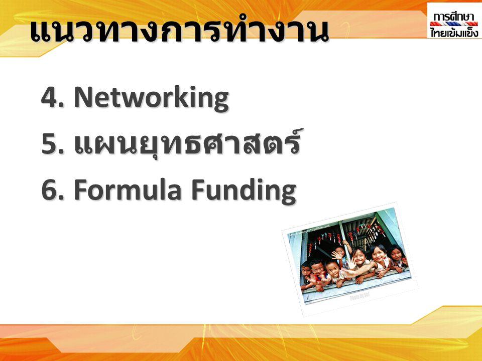 แนวทางการทำงาน 4. Networking 5. แผนยุทธศาสตร์ 6. Formula Funding