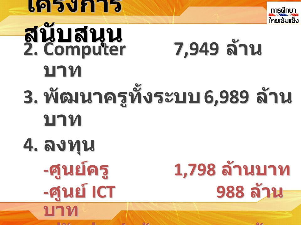 2.Computer7,949 ล้าน บาท 3. พัฒนาครูทั้งระบบ 6,989 ล้าน บาท 4.