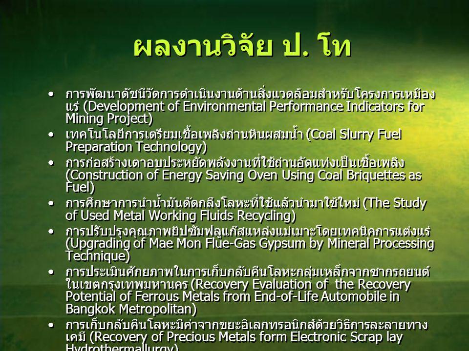 ผลงานวิจัย ป. โท • การพัฒนาดัชนีวัดการดำเนินงานด้านสิ่งแวดล้อมสำหรับโครงการเหมือง แร่ (Development of Environmental Performance Indicators for Mining