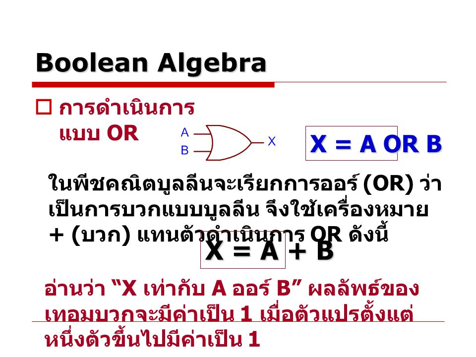 Boolean Algebra  การดำเนินการ แบบ OR ในพีชคณิตบูลลีนจะเรียกการออร์ (OR) ว่า เป็นการบวกแบบบูลลีน จึงใช้เครื่องหมาย + ( บวก ) แทนตัวดำเนินการ OR ดังนี้