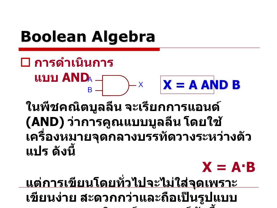 Boolean Algebra  การดำเนินการ แบบ AND ในพีชคณิตบูลลีน จะเรียกการแอนด์ (AND) ว่าการคูณแบบบูลลีน โดยใช้ เครื่องหมายจุดกลางบรรทัดวางระหว่างตัว แปร ดังนี