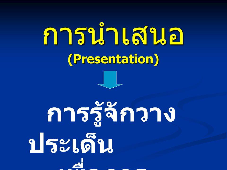 การนำเสนอ (Presentation) การรู้จักวาง ประเด็น เพื่อการ นำเสนอ