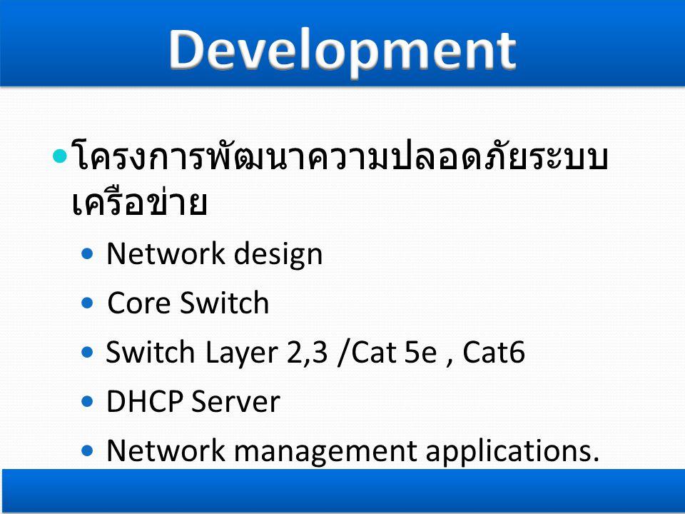  โครงการพัฒนาความปลอดภัยระบบ เครือข่าย  Network design  Core Switch  Switch Layer 2,3 /Cat 5e, Cat6  DHCP Server  Network management applications.