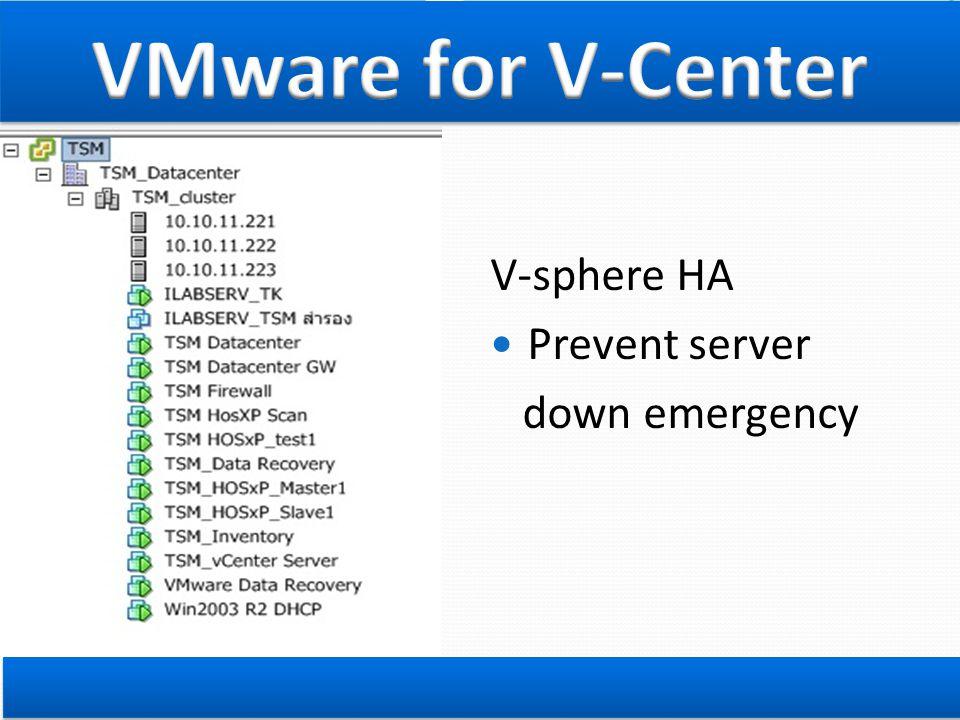 V-sphere HA  Prevent server down emergency