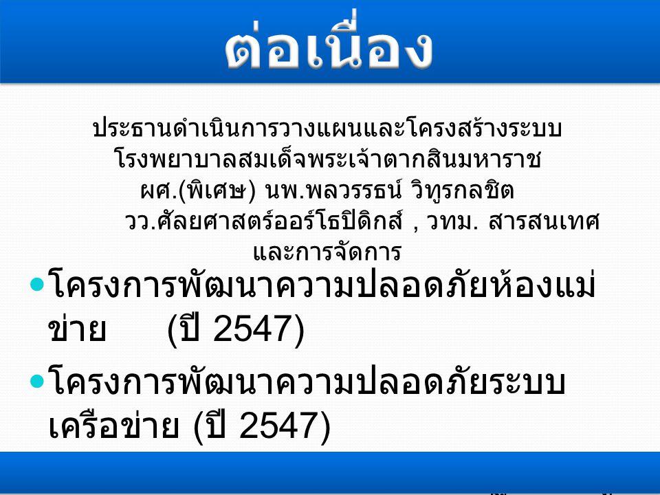  โครงการพัฒนาความปลอดภัยห้องแม่ ข่าย ( ปี 2547)  โครงการพัฒนาความปลอดภัยระบบ เครือข่าย ( ปี 2547)  โครงการพัฒนาความปลอดภัยฐานข้อมูล ( ปี 2555) ประธานดำเนินการวางแผนและโครงสร้างระบบ โรงพยาบาลสมเด็จพระเจ้าตากสินมหาราช ผศ.( พิเศษ ) นพ.