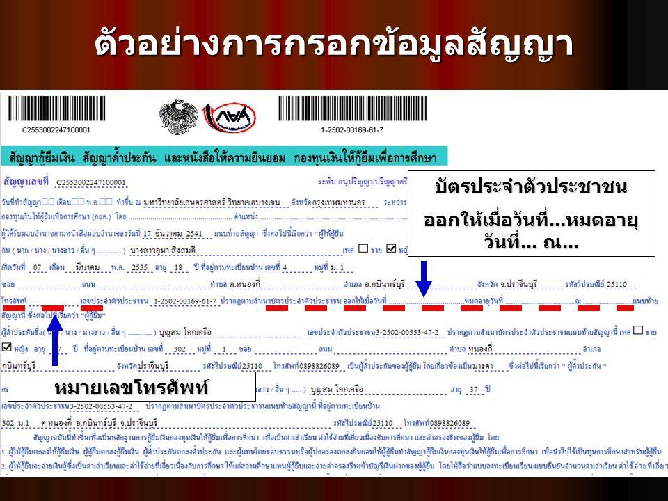ตัวอย่างการกรอกข้อมูลสัญญาบัตรประจำตัวประชาชน ออกให้เมื่อวันที่...หมดอายุ วันที่... ณ... หมายเลขโทรศัพท์