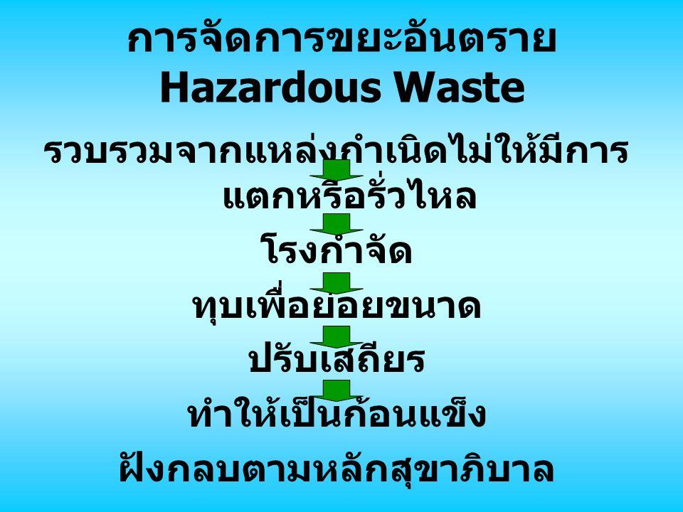 การจัดการขยะอันตราย Hazardous Waste รวบรวมจากแหล่งกำเนิดไม่ให้มีการ แตกหรือรั่วไหล โรงกำจัด ทุบเพื่อย่อยขนาด ปรับเสถียร ทำให้เป็นก้อนแข็ง ฝังกลบตามหลักสุขาภิบาล