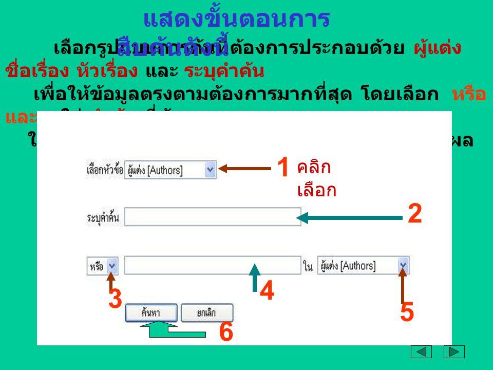 เลือกรูปแบบการค้นที่ต้องการประกอบด้วย ผู้แต่ง ชื่อเรื่อง หัวเรื่อง และ ระบุคำค้น เพื่อให้ข้อมูลตรงตามต้องการมากที่สุด โดยเลือก หรือ และ ใส่ คำค้น ที่ต้องการ ในรูปแบบที่ต้องการ และคลิก ค้นหา เพื่อให้แสดงผล คลิก เลือก 1 2 3 4 5 6 แสดงขั้นตอนการ สืบค้นดังนี้
