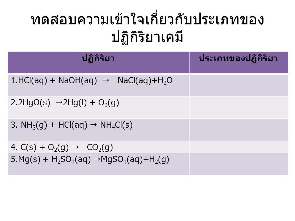 ทดสอบความเข้าใจเกี่ยวกับประเภทของ ปฏิกิริยาเคมี ปฏิกิริยาประเภทของปฏิกิริยา 1.HCl(aq) + NaOH(aq)  NaCl(aq)+H 2 O 2.2HgO(s)  2Hg(l) + O 2 (g) 3. NH 3