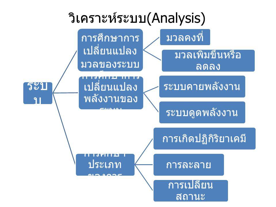 วิเคราะห์ระบบ (Analysis) ระบ บ การศึกษาการ เปลี่ยนแปลง มวลของระบบ มวลคงที่ มวลเพิ่มขึ้นหรือ ลดลง การศึกษาการ เปลี่ยนแปลง พลังงานของ ระบบ ระบบคายพลังงา