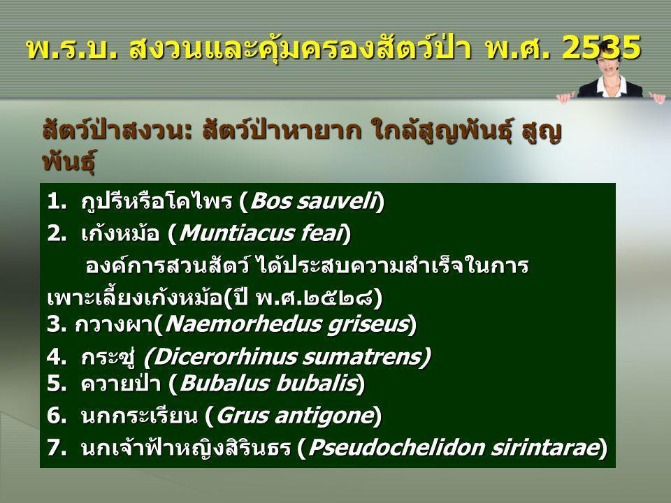 1. กูปรีหรือโคไพร (Bos sauveli) 2. เก้งหม้อ (Muntiacus feai) องค์การสวนสัตว์ ได้ประสบความสำเร็จในการ องค์การสวนสัตว์ ได้ประสบความสำเร็จในการ เพาะเลี้ย