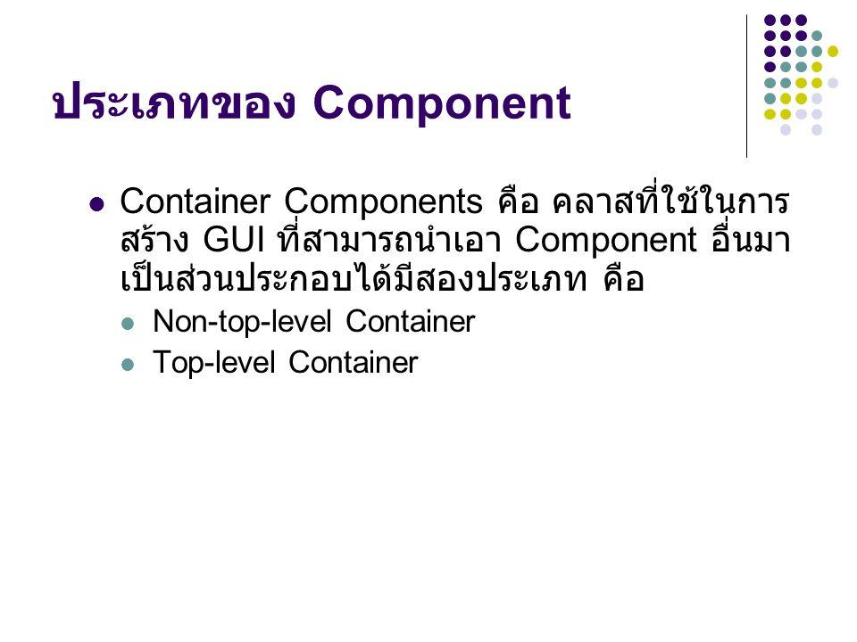 ประเภทของ Component  Container Components คือ คลาสที่ใช้ในการ สร้าง GUI ที่สามารถนำเอา Component อื่นมา เป็นส่วนประกอบได้มีสองประเภท คือ  Non-top-le