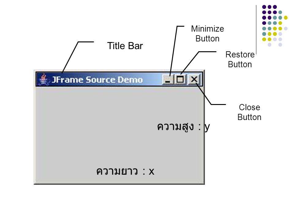 Title Bar Close Button Restore Button Minimize Button ความยาว : x ความสูง : y