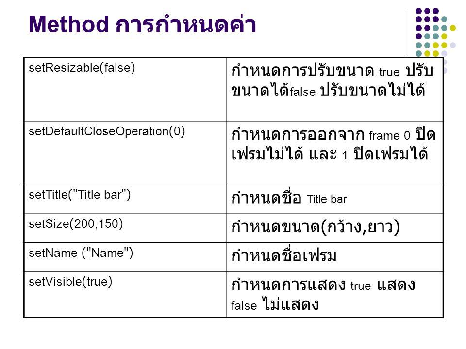 Method การกำหนดค่า setResizable(false) กำหนดการปรับขนาด true ปรับ ขนาดได้ false ปรับขนาดไม่ได้ setDefaultCloseOperation(0) กำหนดการออกจาก frame 0 ปิด