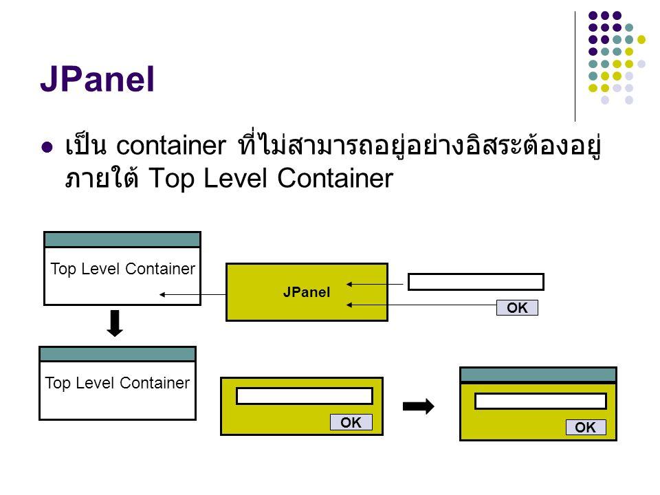  เป็น container ที่ไม่สามารถอยู่อย่างอิสระต้องอยู่ ภายใต้ Top Level Container Top Level Container JPanel OK Top Level Container OK