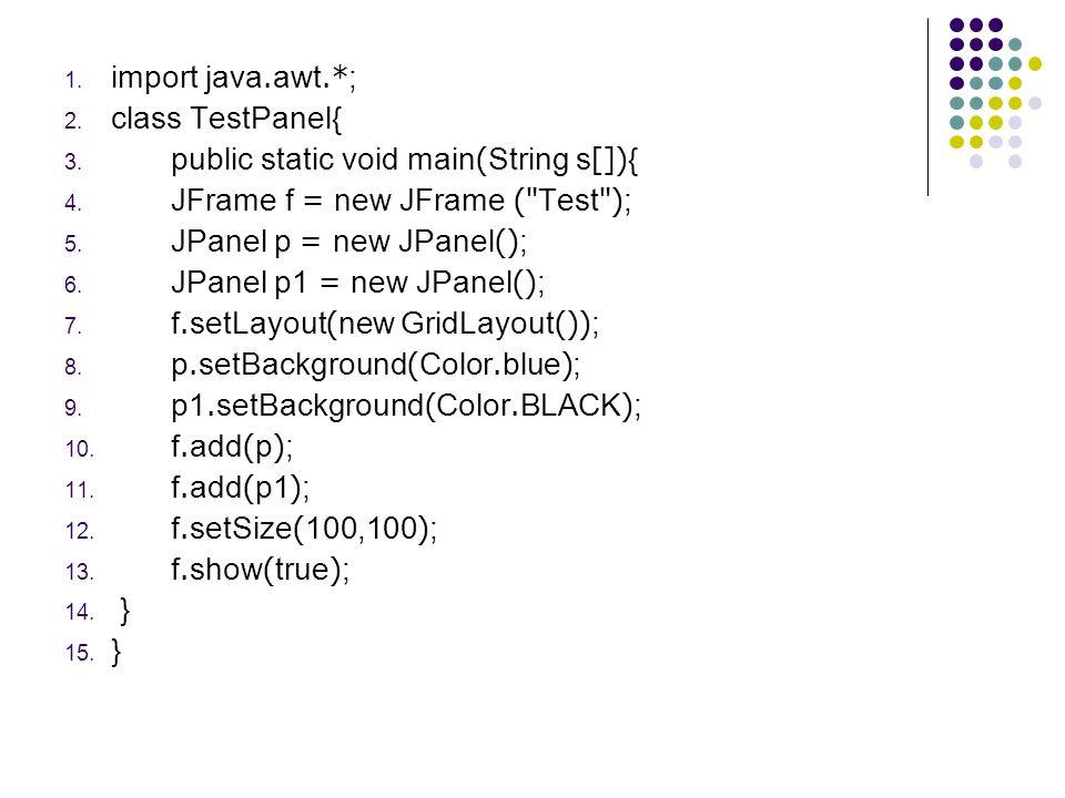 1. import java.awt.*; 2. class TestPanel{ 3. public static void main(String s[]){ 4. JFrame f = new JFrame (