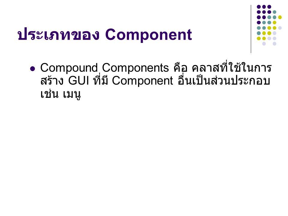 ประเภทของ Component  Compound Components คือ คลาสที่ใช้ในการ สร้าง GUI ที่มี Component อื่นเป็นส่วนประกอบ เช่น เมนู