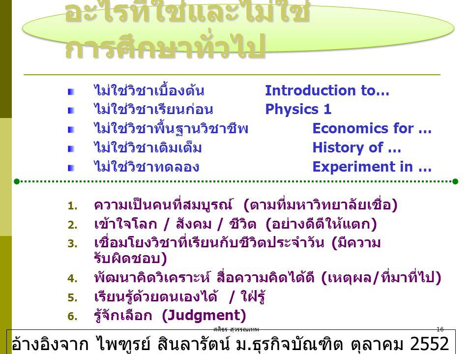 ศศิธร สุวรรณเทพ16 อะไรที่ใช่และไม่ใช่ การศึกษาทั่วไป ไม่ใช่วิชาเบื้องต้น Introduction to… ไม่ใช่วิชาเรียนก่อน Physics 1 ไม่ใช่วิชาพื้นฐานวิชาชีพ Econo