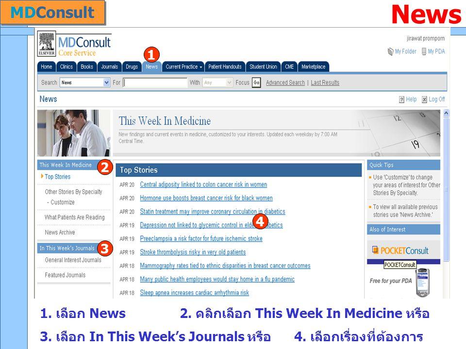 News 1. เลือก News 2. คลิกเลือก This Week In Medicine หรือ 3. เลือก In This Week's Journals หรือ 4. เลือกเรื่องที่ต้องการ 1 2 3 4 MDConsult