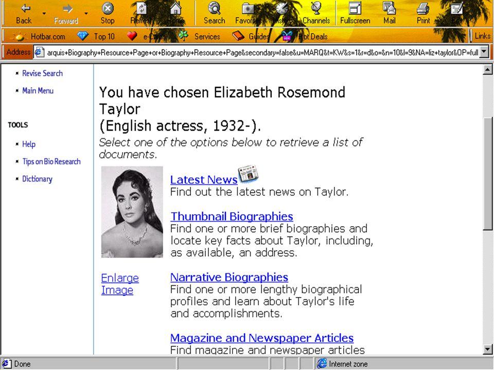 • • ข้อมูลทางบรรณานุกรม • • ข้อมูลชีวประวัติพร้อมภาพ ( ถ้ามี ) Thumbnail Biographies และ / หรือ Narrative Biographies Enlarge Image • • ข้อมูลเพื่อการ