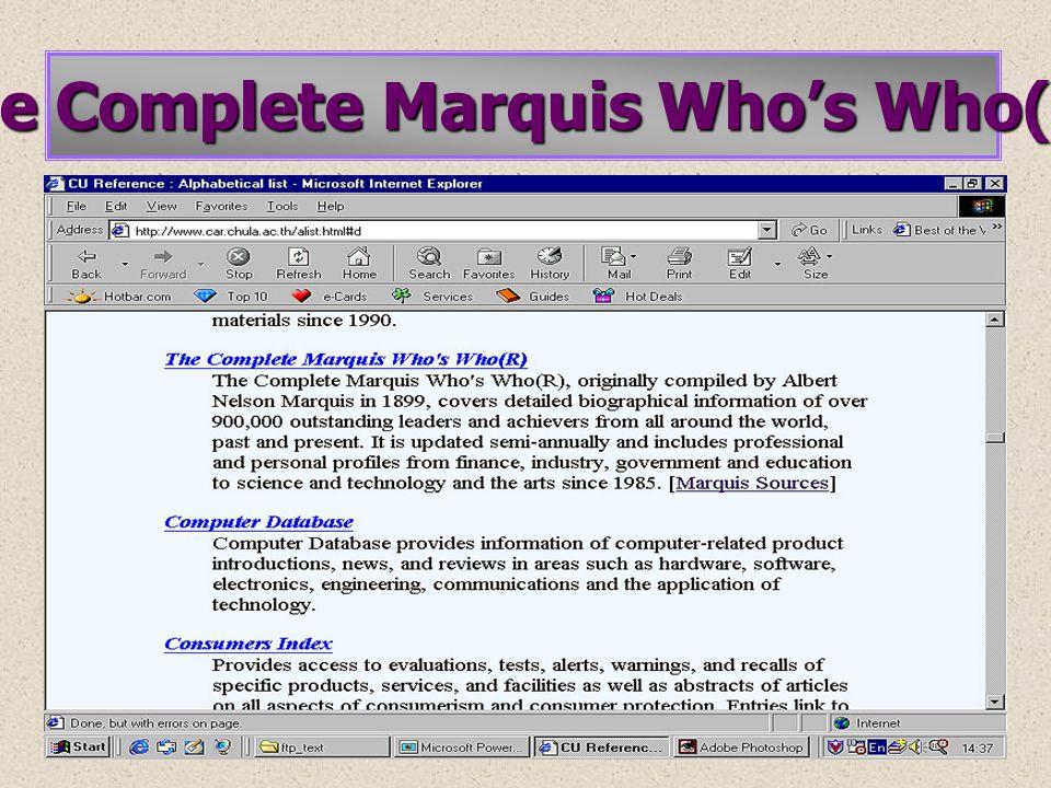 • • ข้อมูลทางบรรณานุกรม • • ข้อมูลชีวประวัติพร้อมภาพ ( ถ้ามี ) Thumbnail Biographies และ / หรือ Narrative Biographies Enlarge Image • • ข้อมูลเพื่อการศึกษาค้นคว้า ( ถ้ามี ) Magazine and Newspaper Articles Additional Sources Websites List • • ข้อมูลข่าวเพิ่มเติมล่าสุด ( ถ้ามี ) Latest News การแสดงผลข้อมูล (Search Results) Bio RC