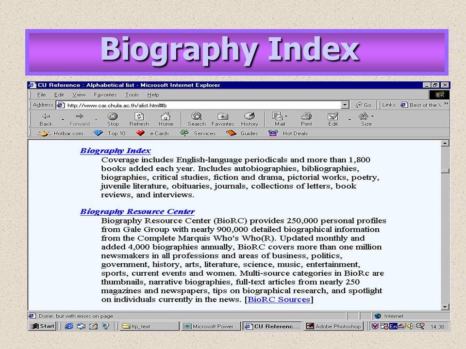 Biography Index