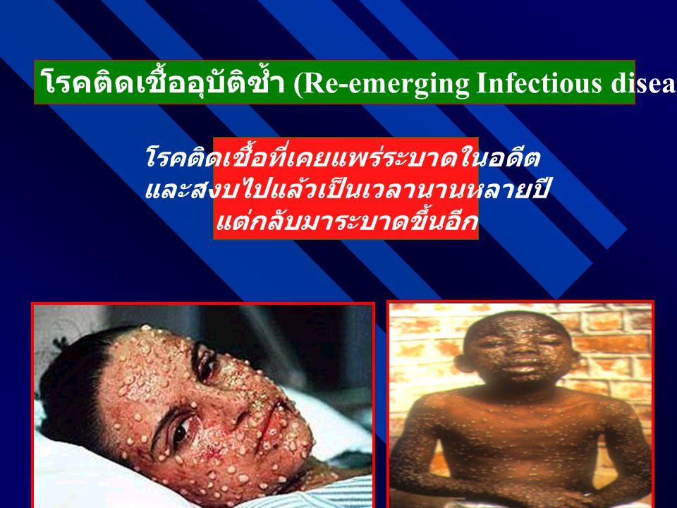 โรคติดเชื้ออุบัติซ้ำ (Re-emerging Infectious diseases: โรคติดเชื้อที่เคยแพร่ระบาดในอดีต และสงบไปแล้วเป็นเวลานานหลายปี แต่กลับมาระบาดขึ้นอีก