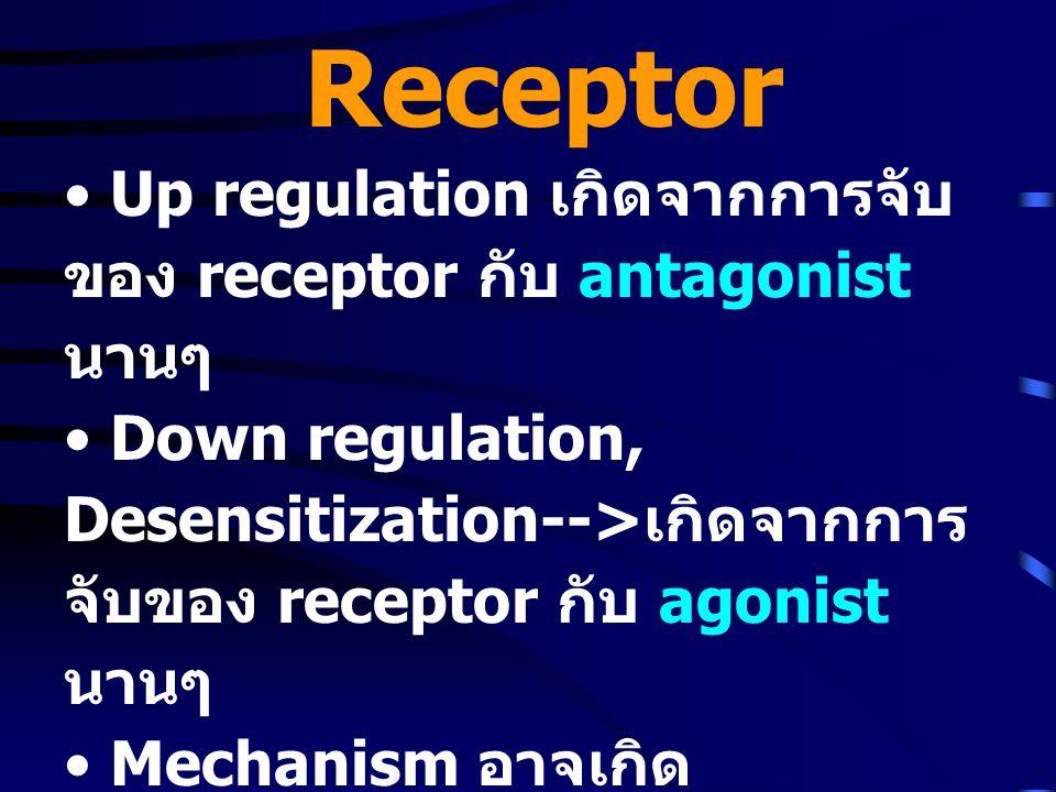 Receptor • Up regulation เกิดจากการจับ ของ receptor กับ antagonist นานๆ • Down regulation, Desensitization--> เกิดจากการ จับของ receptor กับ agonist นานๆ • Mechanism อาจเกิด phosphorylation ที่ C-terminal ของ G-protein receptor ทำให้ จับกับ agonist ไม่ได้ • เกิด receptor mediated endocytosis