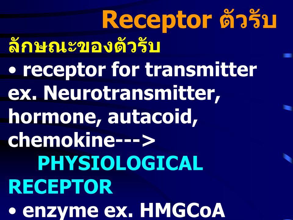 • Specific ต่อสารสื่อหรือ ยาที่มี โครงสร้างเฉพาะ • มี Affinity ต่อสารสื่อหรือยา สูง • แรงยึดเหนี่ยวระหว่างยากับ ตัวรับมักเป็น weak bond ex.Hydrogen bond, Van der Wall's force, hydrophobic interaction, Ionic bond • Agonist ชุดหนึ่ง เมื่อกระตุ้น เนื้อเยื่อหลายชนิด มีลำดับความ แรงของสารแต่ละตัวต่างกัน ---> Receptor subtype