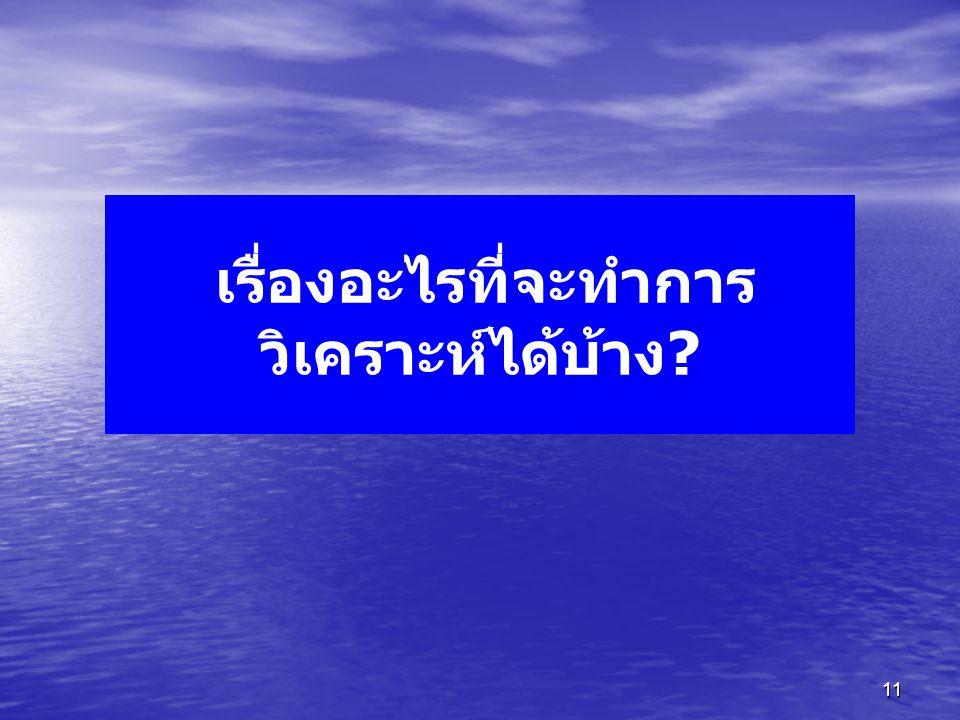 11 เรื่องอะไรที่จะทำการ วิเคราะห์ได้บ้าง?