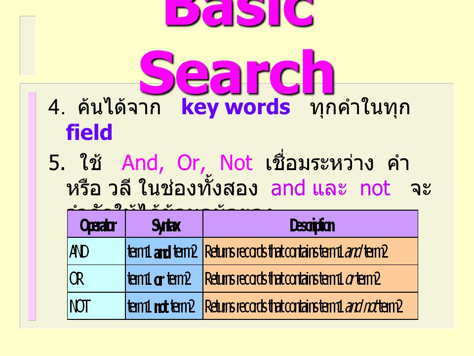 Basic Search 4. ค้นได้จาก key words ทุกคำในทุก field 5. ใช้ And, Or, Not เชื่อมระหว่าง คำ หรือ วลี ในช่องทั้งสอง and และ not จะ จำกัดให้ได้ข้อมูลน้อยล