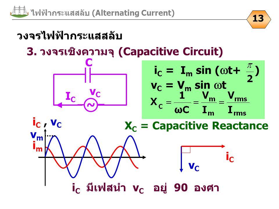 ไฟฟ้ากระแสสลับ (Alternating Current) 13 3. วงจรเชิงความจุ (Capacitive Circuit) i C มีเฟสนำ v C อยู่ 90 องศา ~ C vCvC ICIC iC, vCiC, vC vmvm imim vCvC