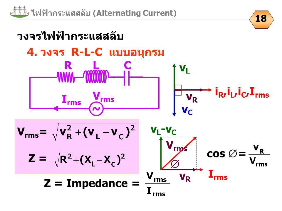 I rms ไฟฟ้ากระแสสลับ (Alternating Current) 18 4. วงจร R-L-C แบบอนุกรม V rms = วงจรไฟฟ้ากระแสสลับ vCvC i R,i L,i C,I rms vLvL vRvR ~ C V rms I rms LR Z