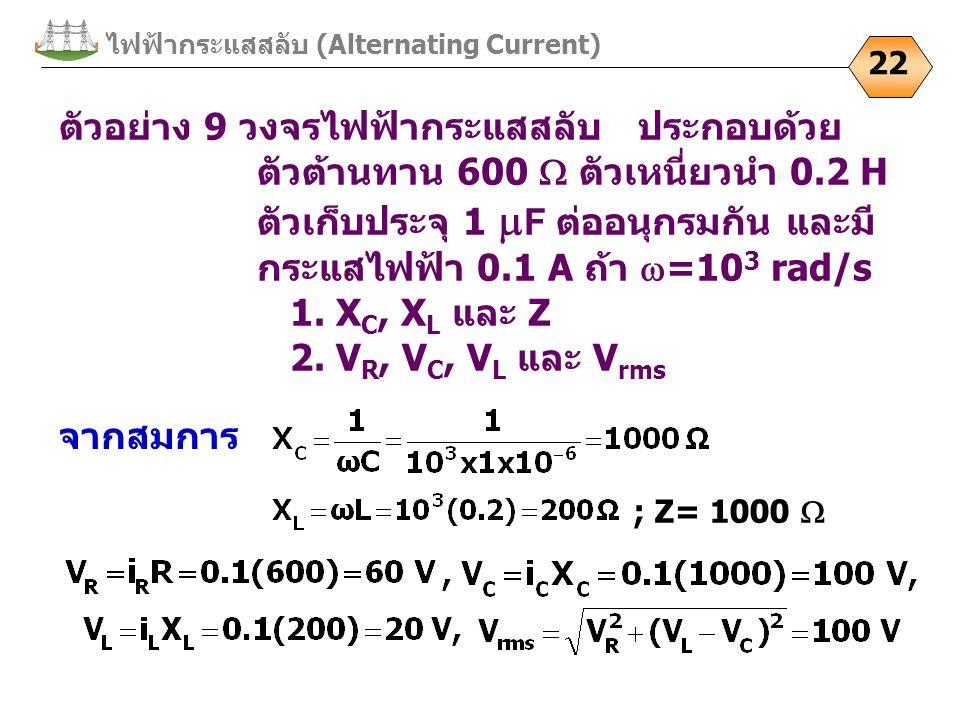 ไฟฟ้ากระแสสลับ (Alternating Current) 22 ตัวอย่าง 9 วงจรไฟฟ้ากระแสสลับ ประกอบด้วย ตัวต้านทาน 600  ตัวเหนี่ยวนำ 0.2 H ตัวเก็บประจุ 1  F ต่ออนุกรมกัน แ