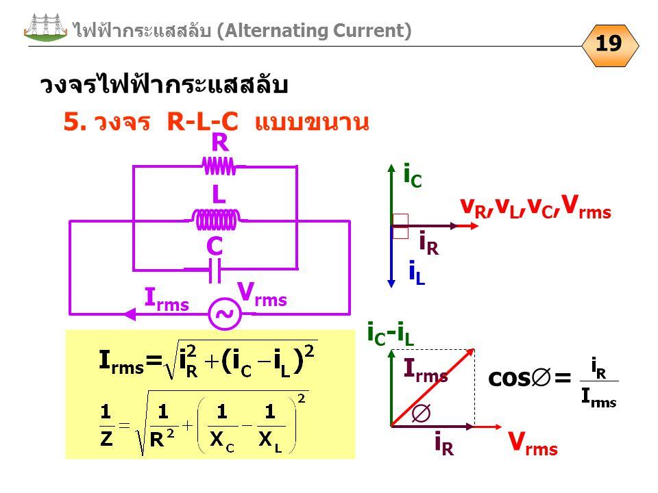 V rms ไฟฟ้ากระแสสลับ (Alternating Current) 19 5. วงจร R-L-C แบบขนาน I rms = วงจรไฟฟ้ากระแสสลับ iLiL v R,v L,v C,V rms iCiC iRiR i C -i L iRiR cos  =